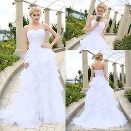 2016 Corset Wedding Dresses Ivory White Robe de Mariee Organza Beaded Ruffled Plus Size Cheap Bridal Gown