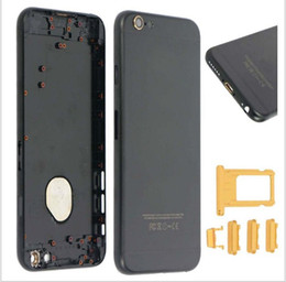 Wholesale For iPhone quot Back Metal Housing Battery Cover Door Case Replacement Parts Black Gold Buttons Gold LOGO