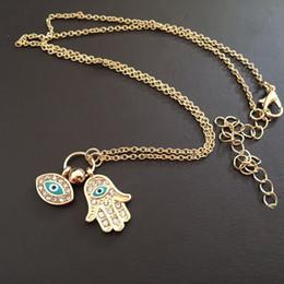 Wholesale Silver Chain Turkey - New hot fashion Pendnat necklaces Hamsa Turkey Blue Eye necklaces Alloy crystal enamel necklace free shipping