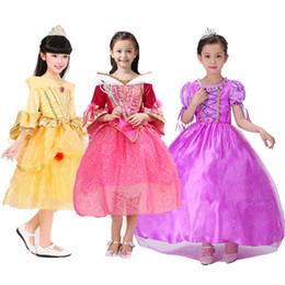 Wholesale DHL styles Belle princess dress girl purple rapunzel dress Sleeping beauty princess aurora flare sleeve dress for party birthday C1273