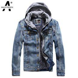Wholesale Men Denim Hooded Jacket New Winter Thicken Windbreaker Jean Hoodies Dark Blue Warm Jacket and Coat Men Clothing AG SSGB