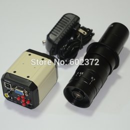 Wholesale 2 MP HD Digital Industry Industrial Microscope Set Camera Magnifier VGA USB AV TV Video Output X C MOUNT Glass Lens PCB Lab
