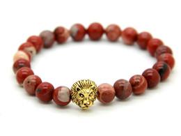 New Design Jewelry Wholesale 10pcs lot 8mm Red Stone Antique Gold Lion Head Bracelets Mens Bracelets
