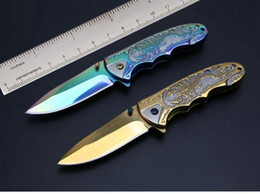 Browning 3D Relief Steel Pocket Folding Knife 7Cr13Mov 58HRC Gold Tactical Camping Hunting Survival Utility Rescue EDC Tools Collection