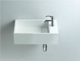 Wholesale Rectangular Wall Mounted Bathroom Solid Surface Stone Vessel Sink Cloakroom Matt Or Glossy Wash Basin RS3816