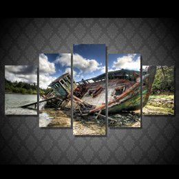 5 Panel HD Printed Cool Fishing Boat Painting Canvas Print room decor print poster picture canvas art