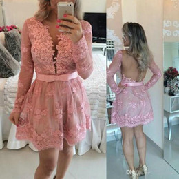 2016 Evening Gowns Sleeves Sexy V Neck Long Sleeve Pink Lace Removable Long And Short Train With Appliques Beading Prom Formal Party Gowns