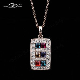 Luxurious Imitation Gemstone Crystal 18K Gold Plated Necklace& pendants Fashion Brand Jewelry For Women colares Wholesale DFN177