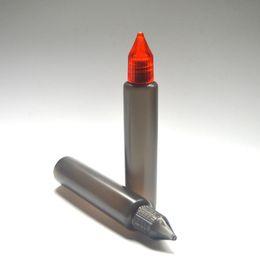 Empty E Liquid Black Bottle 30ml Pen Shape Bottle with Colorful Cap Long Thin Plastic Dropper Bottle