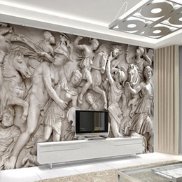 Wholesale Custom photo wallpaper D European Roman statues art wallpaper restaurant retro Bedroom D wallpaper D mural wallpaper Home Decoration