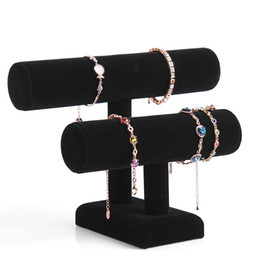 Wholesale 2 Layer Velvet Jewelry Bracelet Necklace Watch Display Stand angle Watch Holder T bar Multi style Optional