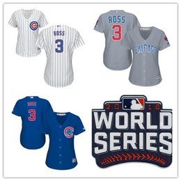 Wholesale 2016 World Series patch Womens Chicago Cubs David Ross jerseys Customiized Cubs Baseball Jersey Lady Shirts Embroidery Logos Well Stitched