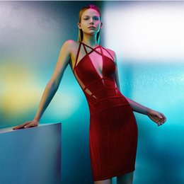 2016 women high quality summer red knitted V-neck hollow out cut out bandage dress prom party dress wholesale dropshipping
