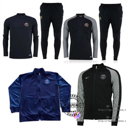 Wholesale 2016 new design PSG football training clothes jacket spring fall fashion slim long sleeved sports jacket men s