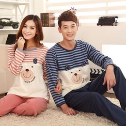 Wholesale Styles Korean Sleepwear Pajamas Couple Pijamas Men Cotton Lovely Ladies Cotton Long Sleeved Couple Pajamas Men