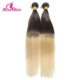Ombre Straight Virgin Hair Two Tone Color 1B 613 Human Hair Weaves 100% Brazilian Peruvian Malaysian Indian Human Hair Extensions