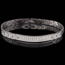 (220B) (195*6 mm) Fantasy Clear Stone Watch Bracelets For Men White Gold Plated European Fashion