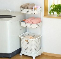 Wholesale New Brand Tier Laundries Cart Sink Draining Plastic Multifunctional Storage Shelving Rack for Bedroom Bathroom Washroom Laundry