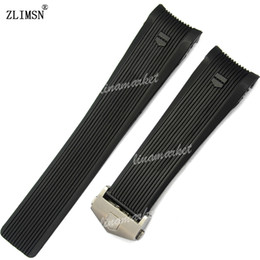 Watch Bands 24mm New MEN Top grade Black Diving Silicone Rubber WatchBand Strap