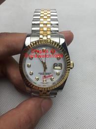 Wholesale Nuevos relojes de moda de marca de lujo de la cara blanca de oro de Beze diamante de cristal de zafiro marca de fábrica Reloj automático de dos tonos SS correa mecánica señoras reloj