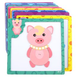 Wholesale Baby Wooden toys D Magnetic wooden Puzzle jigsaw puzzle for children early education cartoon animals puzzles table kids games