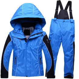 Wholesale New Children s ski pants suit thick warm winter outdoor waterproof windproof ski wear suits boys and girls