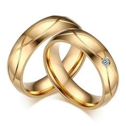 5 pairs per Lot Gold Couples Rings 316 Stainless Steel Rings High Polish CR-062