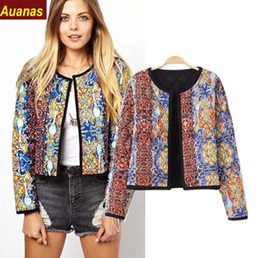 NEW Brand Women spring autumn totem print long coats vintage O-neck long sleeve jacket casaco feminine casual blends