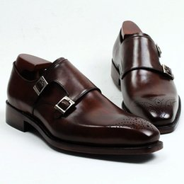 Men Dress shoes Monk shoes Custom handmade shoes Genuine calf Leather Color dark brown strap double buckles HD-247