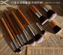 Wholesale 11Pcs Makeup Brushes Cosmetics Tools Natural Bamboo Handle Eyeshadow Cosmetic Makeup Brush Set Blush Soft Brushes Kit With Bag