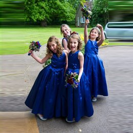 Vestido Longo Royal Blue Flower Girl Dresses 2018 Cheap Handmade Flower Cute Taffeta Little Girls Pageant Dress for Wedding