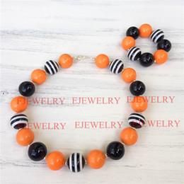 Halloween 20mm orange black acrylic beads black stripe beads chunky Bubblegum kids necklace&bracelet set CB811