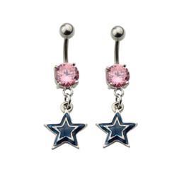 Descuento las mujeres atractivas de oro Estrella Piercings Joyería Mujer Sexy Belly Button Anillo Long Dangle Claro Navel Bar Oro Dangle Body Jewelry Piercing