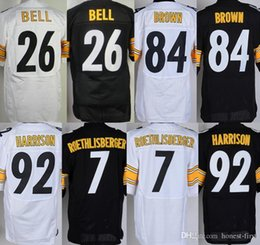 Wholesale Elite Mens Jerseys Antonio Brown Ben Roethlisberger Le Veon Bell Home Stitched Jerseys Free Drop Shipping