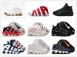 Wholesale 2016 Original quality Big Airs More Uptempo OG Pippen Mens Womens Basketball Shoes Retro White Gum Varsity Sneakers Size