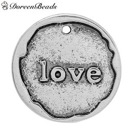 """Zinc Metal Alloy Charm Pendants Round Antique Silver Message """" LOVE """" Carved 20mm( 6 8"""") Dia, 10 PCs 2016 new Free shipping jewelry making"""