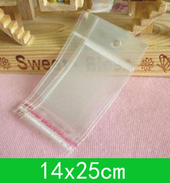 New hanging hole poly bags (14x25cm) with self-adhesive seal opp bag  poly bag for wholesale + free shipping 500pcs lot