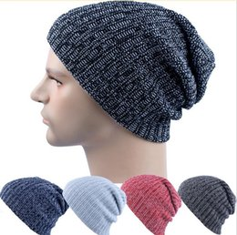 Wholesale Men s Knit Winter Hat AB line warm hat Beanie Reversible Skull Chunky Baggy Warm Cap JF