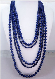 Free Shipping New Navy Blue Five Layered Handmade Beaded Necklace, Hot Sale Fashion Wholesale Women Statement Layered Necklace