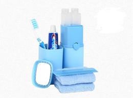 Wholesale 5pcs Set Travel Wash Kit Toothbrush Toothpaste Holder Waterproof Portable Cup Bathroom Accessories Set Comb Mirror Shampoo Bath Cream Bottle