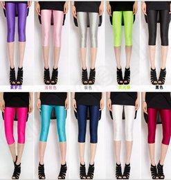 Wholesale Stylish Capris - 8 color LJJK288 Stylish Women Candy Shiny Bright Stretch Leggings Pants Candy Fluorescent Fashion Women's Legging Women's capris Trousers
