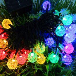 Wholesale Solar Powered Christmas Lamp String Light M LEDs Bubble Ball Fairy Lights Lamp Christmas Festival Decors New Year Garden Decorations