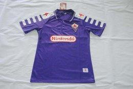 Wholesale Quality assurance Italy League forentina home purple retro thailand men short soccer Jerseys uniforms batistuta rui costa