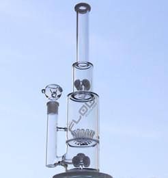 Wholesale JM FLOW Tubes en verre d eau bongs de verre avec le perc d engrenage et saupoudrer le perc avec les couleurs blanches fumant le joint mm de pipe