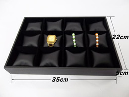 Convenience Jewelry Display Case 12 Grids Pillow Bangle Bracelet Display Box Black Leatherette Velvet Watch Display Holder Tray