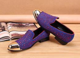 Wholesale Luxury fashion designer purple loafers metal round toe lane slip nightclub show shoes stage trend shoes