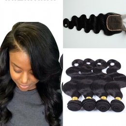 Indian Body Wave 4pcs With 1pc lace Closure bundle Indian remy body wave virgin Hair With Closure G-EASY