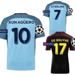 Wholesale new Champions League Edition Soccer jersey KUN AGUERO home and away STONES DE BRUYNE jersey football shirts survetement