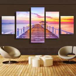 5p modern Home Furnishing HD picture Canvas Print art wall of the sitting room children room decoration theme --Purple sea view#40