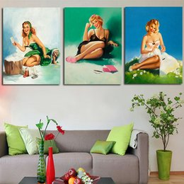 Wholesale 2016 High Quality Best Selling Vogue Fashion Girl Home Decoration Modern Oil Painting on Canvas Unframed